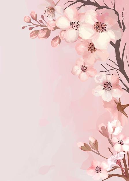 Sakura-wenskaart Gratis Vector