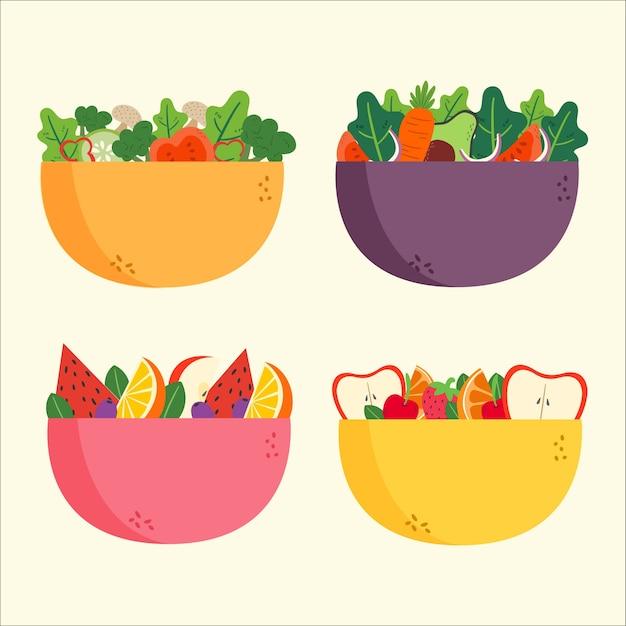 Salade en fruitschalen Gratis Vector