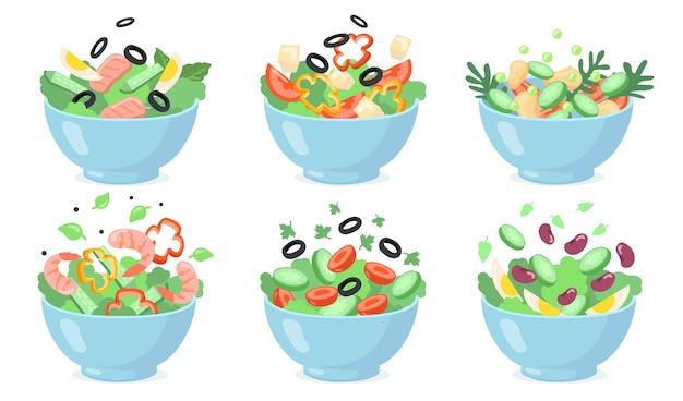 Salade kommen ingesteld. snijd groene groenten met eieren, olijven, kaas, bonen, garnalen. vectorillustraties voor vers voedsel, gezond eten, voorgerecht, lunch s Gratis Vector