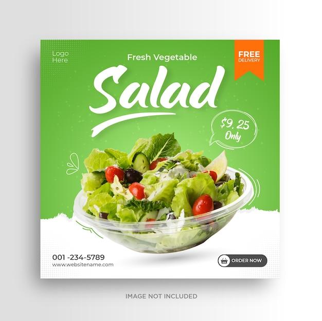 Salade promotie sociale media instagram post sjabloon voor spandoek Premium Vector