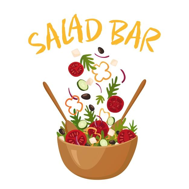 Saladebar vectorillustratie Gratis Vector