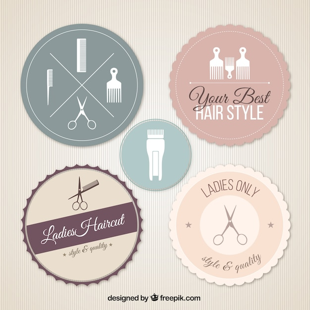 salon badges vector premium download
