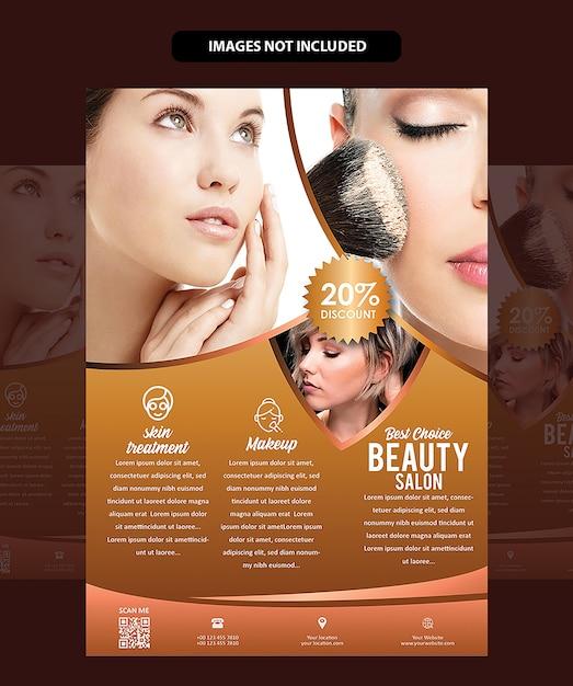Salon brochure of folder Premium Vector