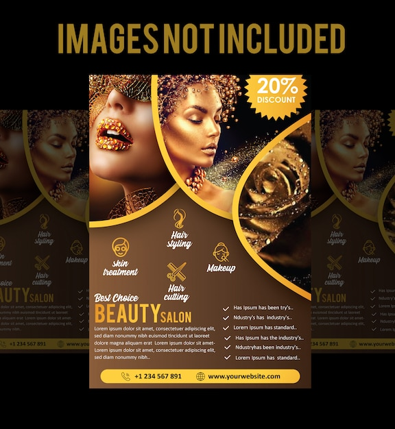 Salon brochure of folder Premium Vector