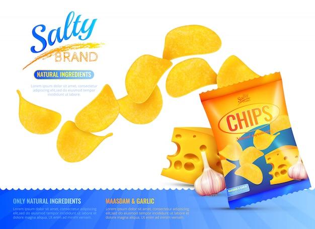 Salty snacks advertentie poster Gratis Vector