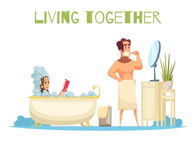 Samen leven concept met het nemen van een bad symbolen plat Gratis Vector