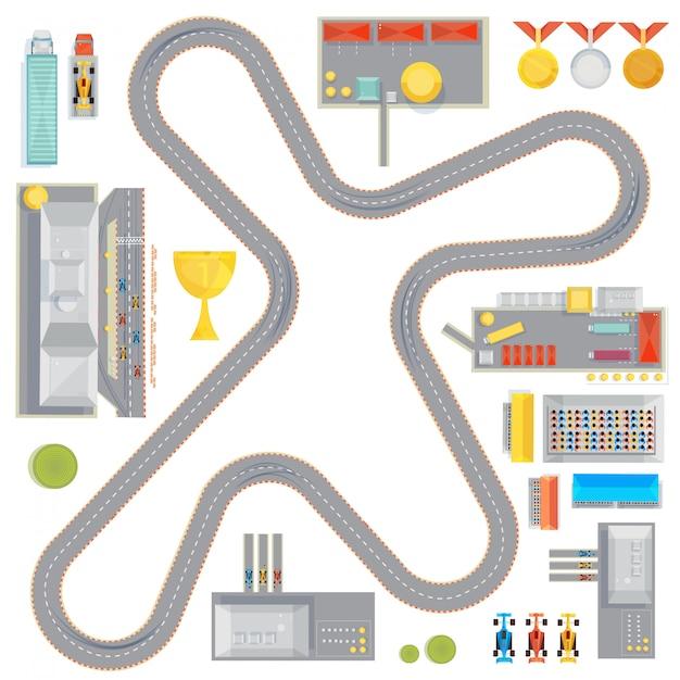 Samenstelling met bochtige racebaan garages servicestations en raceauto's beelden beker en medailles pictogram Gratis Vector