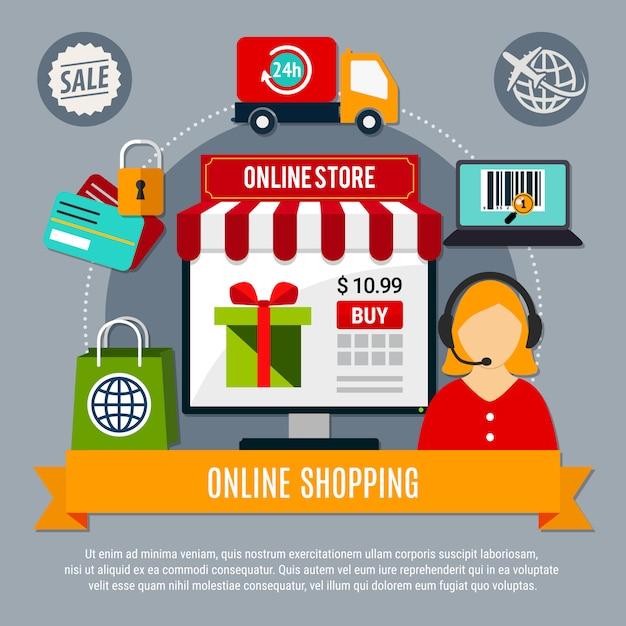 Samenstelling online winkel Gratis Vector