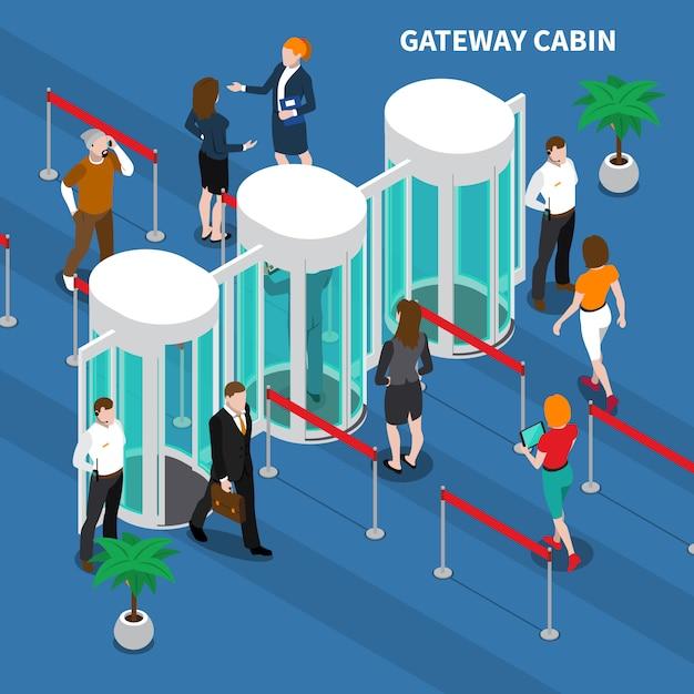 Samenstelling samenstelling toegang gatewaycabine Gratis Vector