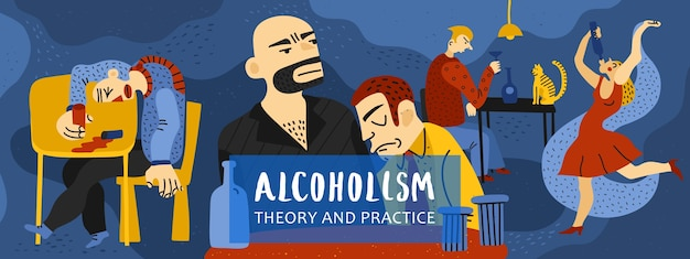 Samenstelling van alcoholverslaving met vlakke symbolen voor theorie en praktijk Gratis Vector