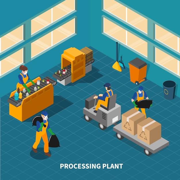 Samenstelling van de fabriek voor afvalrecycling Gratis Vector