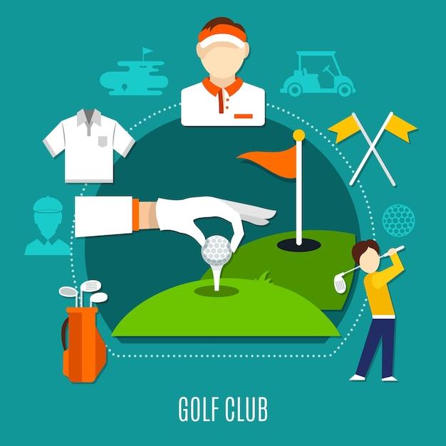 Samenstelling van de golfclub met inbegrip van hand zetten van bal op tee, spelers, sportuitrusting op blauwe achtergrond Premium Vector