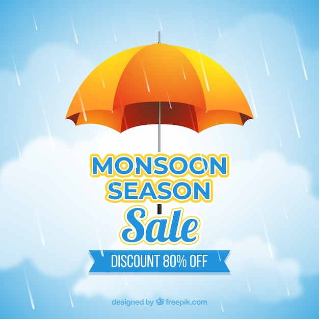 Samenstelling van de het seizoenverkoop van de moesson met realistisch ontwerp Gratis Vector