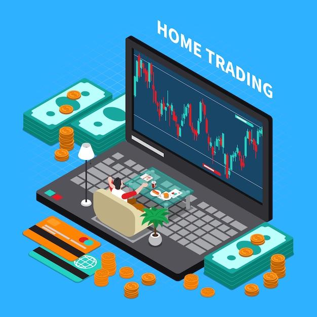 Samenstelling van de online handelsbeurs Gratis Vector