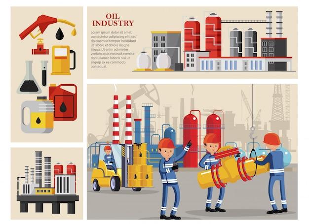 Samenstelling van de platte olie-industrie met industriële arbeiders die petrochemische pijpleidingen voor benzinestations met pompkolven vervoeren Gratis Vector