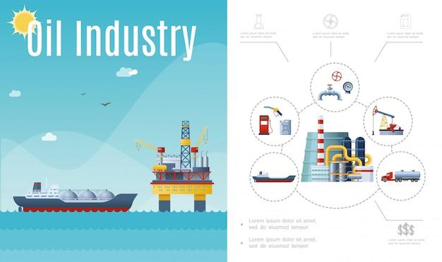 Samenstelling van de platte olie-industrie met tanker schip water booreiland tankstation bus brandstofpomp pijpleiding manometer klep vrachtwagen Gratis Vector