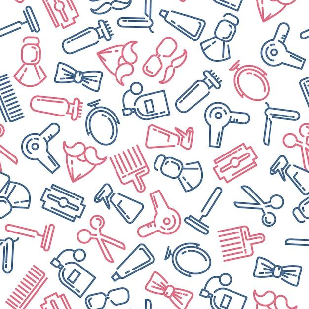Samenstelling van de reeks pictogrammen voor de kapperswinkel. Gratis Vector