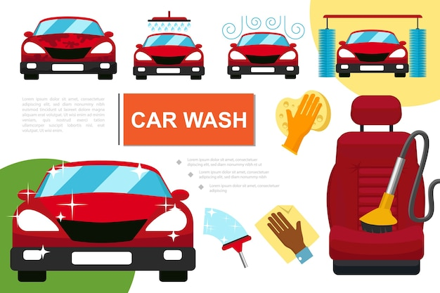 Samenstelling van de wasservice voor platte auto's Gratis Vector