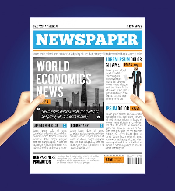 Samenstelling van de wereld economische krant Gratis Vector