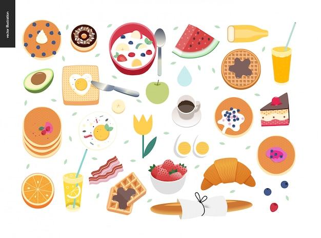 Samenstelling van het ontbijt Premium Vector