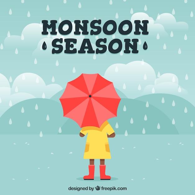 Samenstelling van het seizoen van de moesson met platte ontwerp Gratis Vector