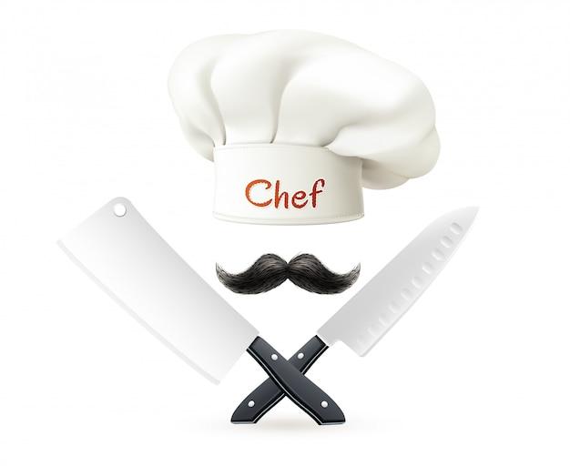 Samenstelling van hoed van chef-kok met rode van letters voorziende snor en gekruiste messen op witte vectorillustratie als achtergrond Gratis Vector