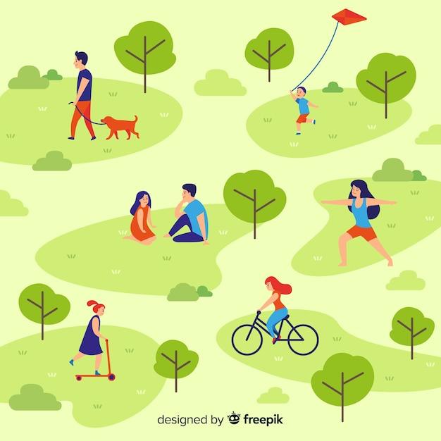 Samenstelling van mensen die in openlucht activiteiten doen Gratis Vector