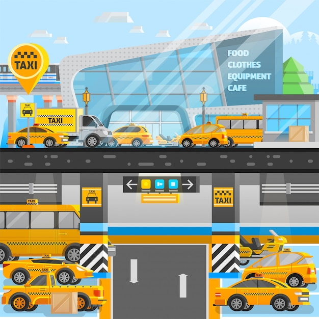 Samenstelling van taxi's Gratis Vector