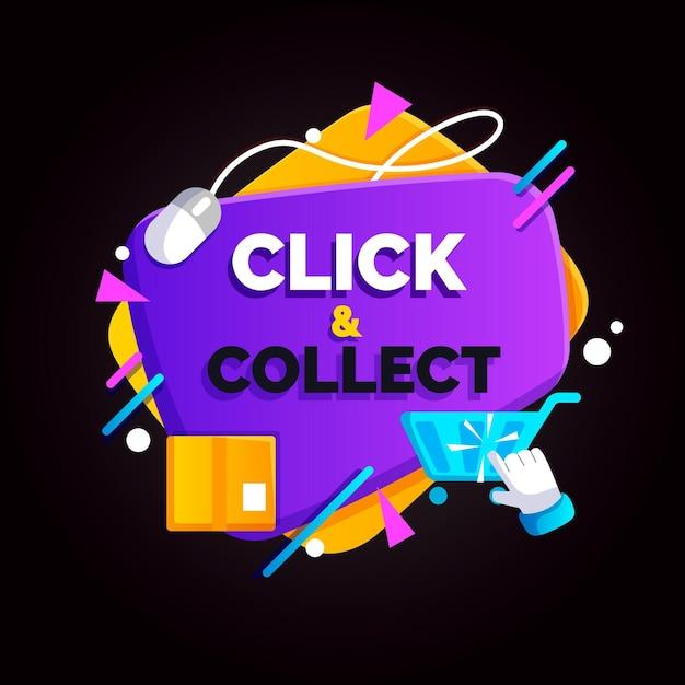 Samenvatting gedetailleerde klik en verzamel teken Gratis Vector