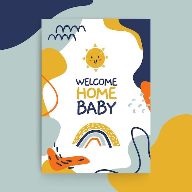 Samenvatting geschilderde kinderlijke baby kaarten sjabloon Gratis Vector
