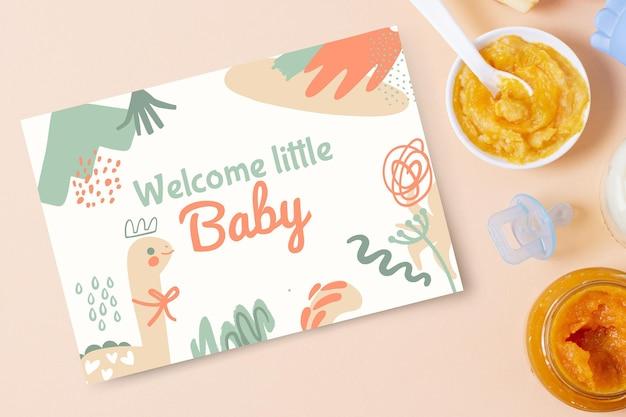 Samenvatting geschilderde kinderlijke babykaartjes Gratis Vector