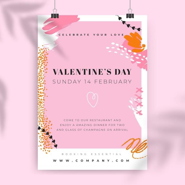 Samenvatting geschilderde kleurrijke valentijnsdag poster Gratis Vector