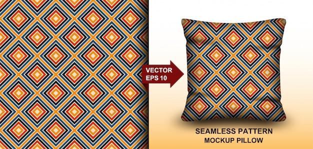 Samenvatting. kleurrijke achtergrondpatroon naadloze retro jaren '70. ontwerp voor kussen, print, mode, kleding, stof, cadeauverpakking. mockup sjabloon kussen naadloos patroon. Premium Vector
