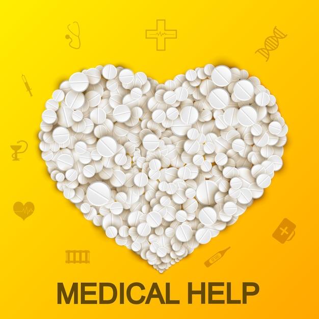 Samenvatting medisch met hart die zich van pillen en drugs op geel vormen Gratis Vector