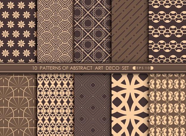 Samenvatting van luxary art deco patroon vastgestelde achtergrond. Premium Vector