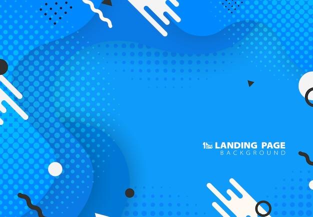 Samenvatting van vloeistof het patroonontwerp van gradiënt blauw memphis met geometrische kunstwerkachtergrond. Premium Vector