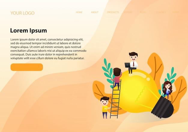 Samenwerken aan het vinden van nieuwe ideeën Premium Vector