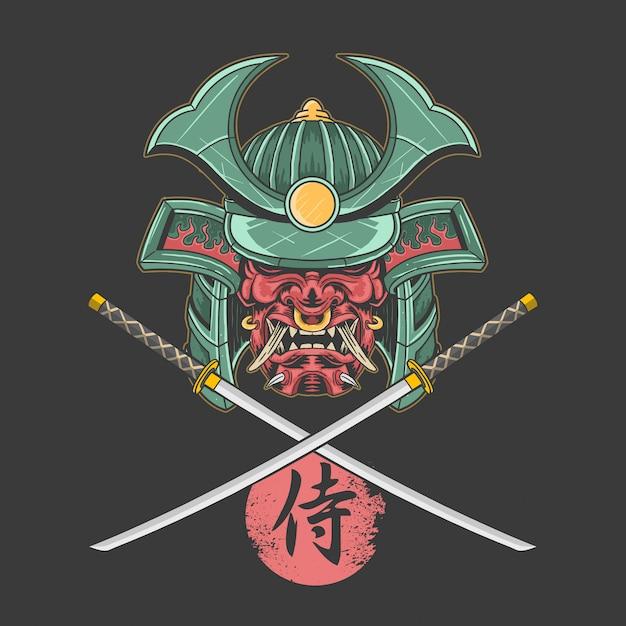 Samoerai shogun katana Premium Vector