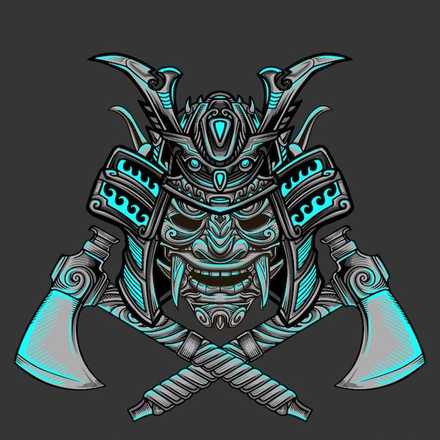 Samurai bijl warrior vector Premium Vector
