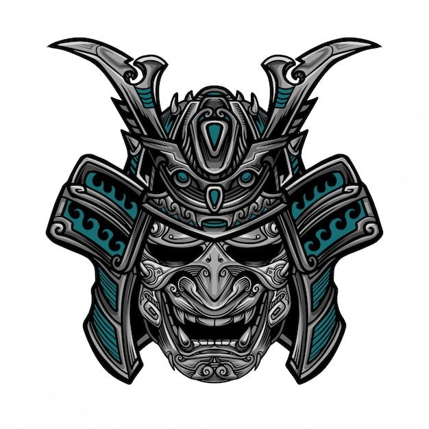 Samurai hanya mask vector Premium Vector