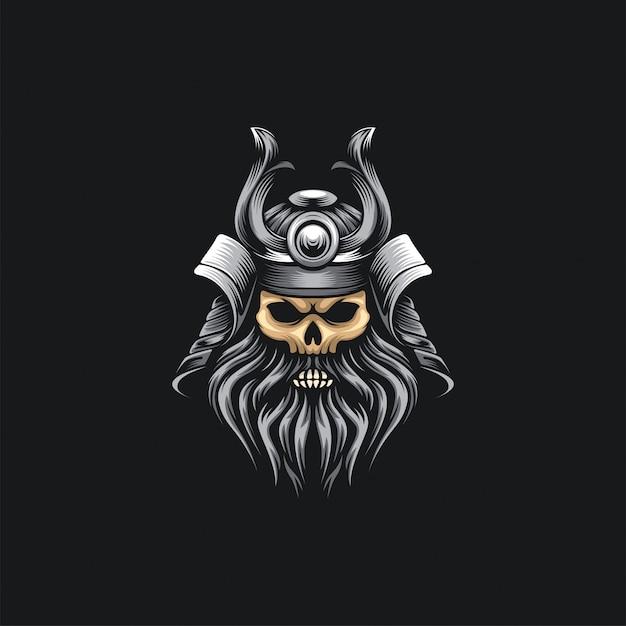 Samurai hoofd schedel Premium Vector