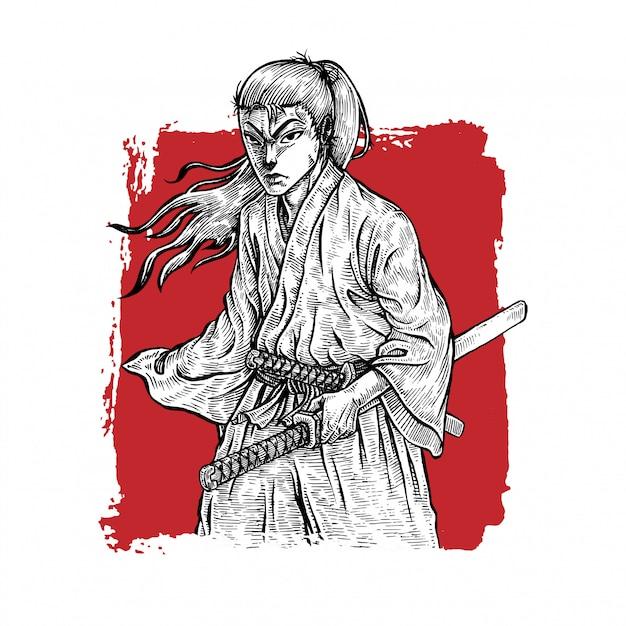 Samurai ronin Premium Vector
