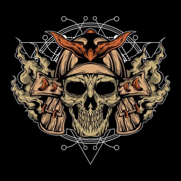 Samurai schedel illustratie met heilige geometrie Premium Vector