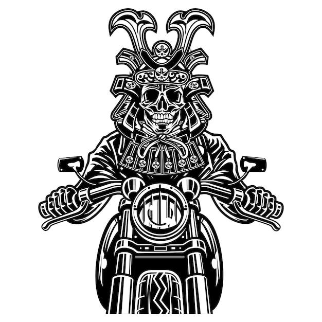 Samurai skull biker Premium Vector