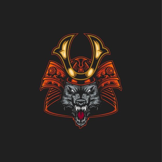 Samurai wolf illustratie Premium Vector