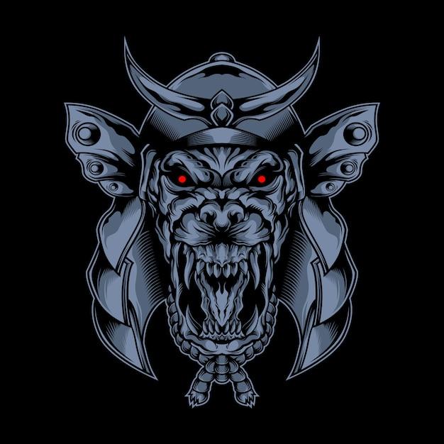 Samurai wolf masker van duisternis Premium Vector