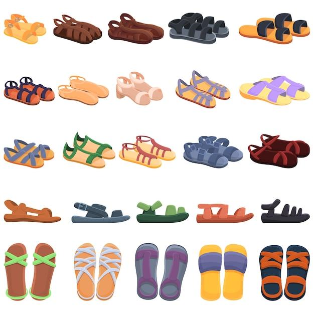 Sandalen pictogrammen instellen. sandalen pictogrammen Premium Vector