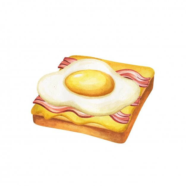Sandwich aquarel. fast-food maaltijd op aquarel illustratie. Premium Vector