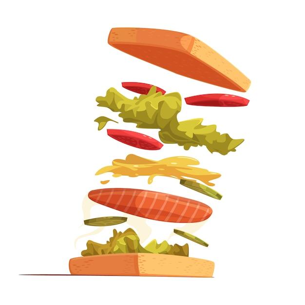 Sandwich ingrediënten samenstelling met brood rode vis gesneden groenten bladeren van salade en mosterd saus Gratis Vector