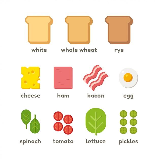 Sandwich ingrediënten set Premium Vector